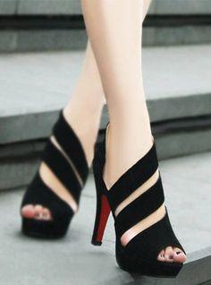 Fabulous Black High Heel Sandals  #side #sandals