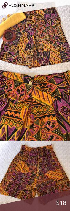 """VINTAGE MULTI COLOR CULOTTES I love these!! Elastic band in the rear. Gold button in the front with a collar. The colors, I think are great for more than one season. Length 20.5"""". Hips 22"""" Waist 13-16"""". VINTAGE. Vintage 7. Note measurements before your purchase. Last picture as to tiny holes I've just noticed. Inspiration picture added for the style. Vintage Shorts"""