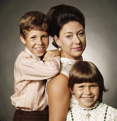 Princess Margaret with her children Viscount Linley (now Earl of Snowdon) and Lady Sarah Armstrong Jones in August 1971. Princess Margaret split with their father in 1978 and later died in 2002