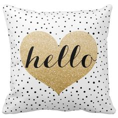 Amazon.com - Lfarncomboutlet Gold Hello Heart Black White Dalmatian... ($10) ❤ liked on Polyvore featuring home, home decor, throw pillows, zippered throw pillows, polka dot home decor, gold accent pillows, polka dot throw pillows and black and white home accessories