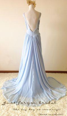 Petticoatkleider - Sky Blue Deep V-Neck Backless Prom Wedding Dress - ein Designerstück von ZitaaYoung bei DaWanda