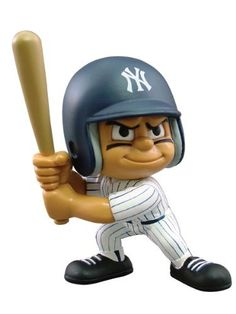 """MLB New York Yankees Lil' Teammates Batter by Party Animal Toys. $6.60. Officially licensed by MLB. 3"""" tall and feature very animated faces and rotating heads. Figure in Team uniform. Perfect gift for young and older fans. 100% Vinyl. These cool figures can be placed on your desk, hung from your rear-view mirror, used as cake-toppers or even Christmas tree ornaments. From the Manufacturer                These little guys, dressed in the uniforms of your favorite..."""