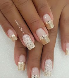 100 Beautiful wedding nail art ideas for your big day - bride nails pink nail art, romantic nail ideas, wedding nail French nails Classy Nails, Stylish Nails, Cute Nails, Diy Elegant Nails, Nagel Hacks, Wedding Nails Design, Nail Wedding, Gold Wedding, Wedding Ceremony