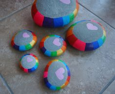 Colorful and pretty heart rocks!