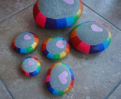 Colorful and pretty heart rocks!