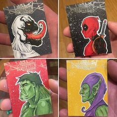Anti-Venom. Deadpool. The Hulk. The Green Goblin. Just another sampling of my sketch card work for the 2017 Fleer Ultra Spider-Man card set. Hear are not available for sale, but you might be lucky enough to find them in a random pack of cards! Go out and try your luck! - - #antivenom #deadpool #thehulk #hulk #theincrediblehulk #thegreengoblin #greengoblin #fleer #upperdeck #sketchcard #fleerultra #spiderman #marvel #disney #art #artist #artistsofinstagram #artistsoninstagram #illustration…