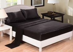 Honeymoon black bed sheet set in full, queen and king sizes.