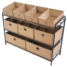 Organize a playroom, craft room or laundry area with the different sized bins of this storage organizer. Three tiers offer nine fabric bins in a variety of sizes, giving you a convenient and versatile