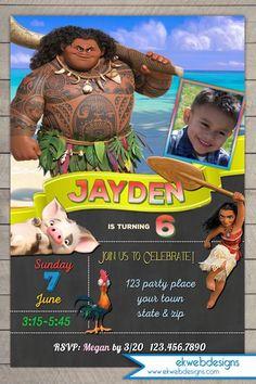 Moana Birthday Invitation - Disney Moana birthday invitations with or without photo