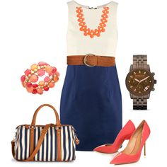 like the colour combo....could do this navy skirt, cream top & cardi, brown belt and pumps and coral jewelry