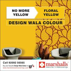 Add an element of vibrancy to your wall, by decorating it with this Floral Yellow wallcovering from Marshalls Wallcoverings!  Explore this and much more at www.marshallswallcoverings.com #DesignWalaColour #Walldecor #Interiordecor #HomeDecor #WallDecor #Walldesigning.