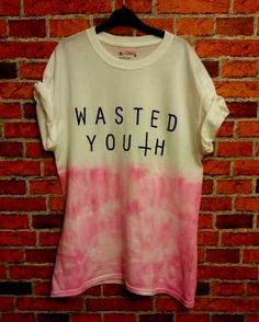 ♥ TIE DYE DIP DYED PINK WASTED YOUTH TEE FESTIVAL HIPSTER GRUNGE OVERSIZED♥ | eBay