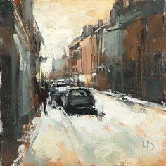 Street Study, 8×8″, Oil on board.