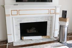 changing the wood detail before installing Whte Built-Ins Around a Fireplace Built In Around Fireplace, Corner Gas Fireplace, Living Room Decor Fireplace, Build A Fireplace, Fireplace Bookshelves, Fireplace Built Ins, White Fireplace, Fireplace Remodel, Brick Fireplace