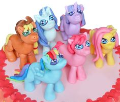 My Little Pony fondant cake topper. Set of six edible My Little Pony figurines. by 101cakes on Etsy