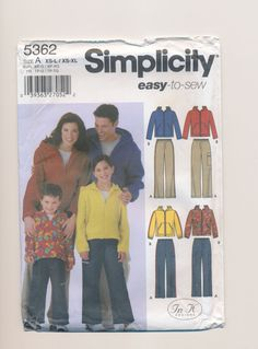 pattern for child's teen's hoodie and pull on pants simplicity 5362 uncut by mudintheUSA on Etsy