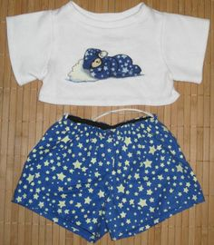 Build A Bear Clothing Glow-in-the-Dark Star Pajamas PJ's 2pc Set Blue White #Bedtime