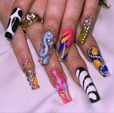 Nail Design Stiletto, Nail Design Glitter, Aycrlic Nails, Hair And Nails, Manicure, Garra, Sweet 16 Nails, New Nail Designs, Grunge Nails