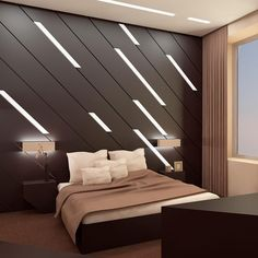 Modern bedroom design: Brown coloured wall with built-in leaning lights. Bed Design, Design Case, House Design, Bedroom Furniture, Furniture Design, Bedroom Decor, Bedroom Ideas, Bedroom Wall, Furniture Makers