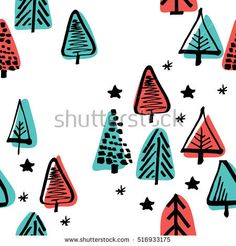 Scandinavian seamless pattern of Christmas tree vector hand-drawing graphics. Christmas pattern for wrapping paper and festive decoration of Christmas and Happy new year 2017.