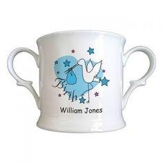 Stork Blue Birth Bone China Loving Cup. £12.99 #BabyBoy #Stork #NewBaby #BoneChina #PersonalisedCup #PersonalisedBabyGift #Newborn #PersonalisedGifts