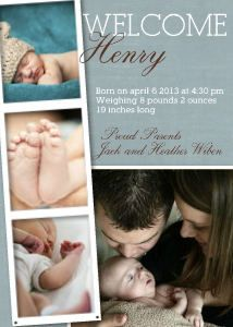 Mixbook Photobooth Collage Boys Birth Announcements