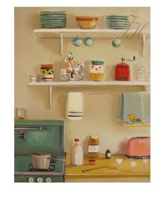 """Art Print: General Custard Fine giclee art print of an original oil painting by Janet Hill Image is 5"""" x 6.5"""" with a white border Printed using Epson Ultrachrome archival prints on heavyweight matte f"""