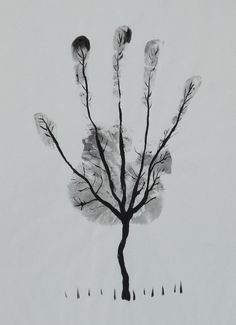 "Saatchi Online Artist: Ahmed Al Safi; Pen and Ink, Drawing ""Man's Hand Tree! """