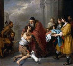 Return of the prodigal son  Murillo's great talent for dramatic painting is apparent in this monumental depiction of the familiar parable of the prodigal son, an allegory of repentance and divine forgiveness. With players and props effectively placed to underscore the drama, it is reminiscent of a well-staged theater piece.