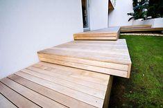 Wooden landing-style deck steps