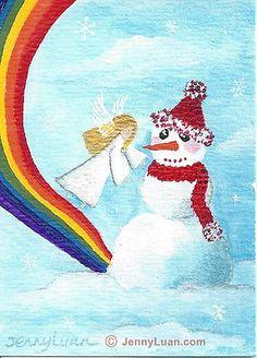 ACEO original angel, snowman, snowflake, rainbow, cloud acrylic painting