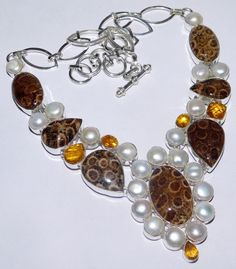 .925 STERLING SILVER OVERLAY AMAZING FOSSIL CORAL PEARL GEMSTONE NECKLACE V416 #Handmade #Necklace #Beauty