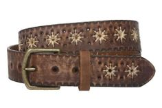 "Amazon.com: 1 1/2"" (38 mm) Snap on Flower Embossing Vintage Leather Belt Size: 38"" Color: Brown: Clothing"