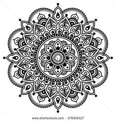 Mehndi, Indian Henna tattoo pattern or background by RedKoala #mehdiart #design #mandala
