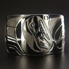 Clinton Work, Sterling Silver Bracelet, Red Tail Hawk, Northwest Coast Native Art