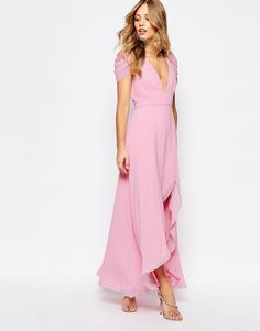 Long Pink Bridesmaid Dress