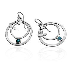 Unique Silver Earrings With 4mm Round Cabs Opal Blue Stone