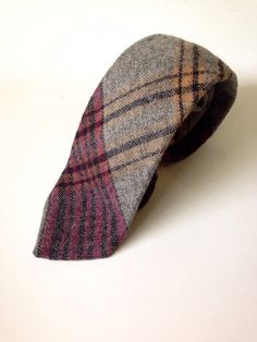 dbee158fd59 Vintage Men s Skinny Tie Wool Plaid Tie by MapleVintage Skinny Ties