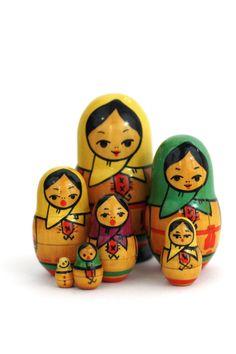 Vintage Set of 7 Russian Nesting Dolls