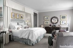 In the master bedroom of a Los Angeles house.Requisite Gray by Sherwin-Williams. HouseBeautiful.com