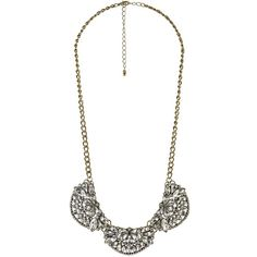 Charlotte Russe Gold Vintage-Inspired Rhinestone Bib Necklace by... ($6) ❤ liked on Polyvore featuring jewelry, necklaces, gold, yellow gold chain necklace, chain bib necklace, rhinestone bib necklace, chain collar necklace and bib necklace