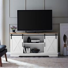 Manor Park 58 inch Modern Farmhouse Sliding Barn Door TV Stand - White & Rustic Oak Brown - October 19 2019 at Barn Door Tv Stand, Barn Door Console, Home Design, Design Ideas, Farmhouse Tv Stand, Farmhouse Decor, White Farmhouse, Farmhouse Style, Farmhouse Furniture