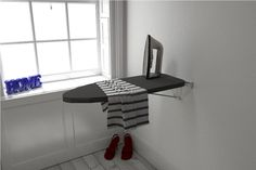 Ironing Board Compact Wall Mounted Folding - Value Model - Silver Wall Fixing Plate - Space Saving, Craft Furniture Laundry Room Shelves, Laundry Room Design, Laundry Nook, Folding Furniture, Space Saving Furniture, Multifunctional Furniture, Furniture Ideas, Silver Walls, Quartos