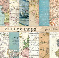Questa inserzione è per un pattern digitale stampabile / backgrounds set Mappe: carta da imballaggio / Kit Digital Scrapbook  -18 carte digitale