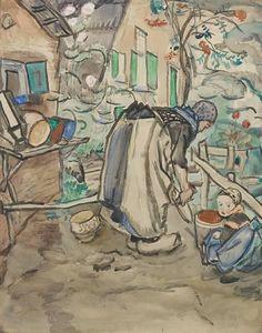 Jan Sluijters - Working in a garden; Creation Date: 1915; Medium: watercolour; Dimensions: 29.31 X 23.25 in (74.45 X 59.06 cm)