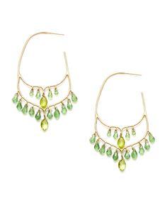 Padma  Taj Green Garnet & Peridot Hoop Earrings