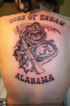 """Alabama fan latest to get crazy college football tattoo, for """"Sons of Saban"""" Crimson Tide Football, Alabama Football, Alabama Crimson Tide, College Football, Alabama College, Alabama Tattoos, State Tattoos, Sons Of Anarchy Tattoos, Football Tattoo"""