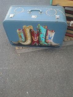 Vintage suitcase with boots