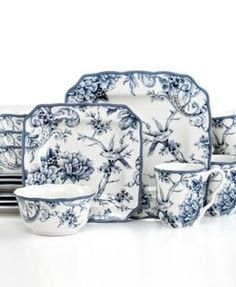 Adelaide 222 Fifth 16 Pc Dinnerware Set, Blue & White Square Toile Bird