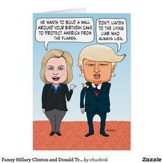 Funny Hillary Clinton And Donald Trump Birthday Card Feliz Cumpleanos Gracioso Chistes De